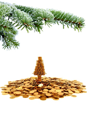 christmas budget: Golden tree of happiness for yours christmas time Stock Photo