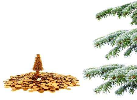 budget crisis: Golden tree of happiness for yours christmas time Stock Photo