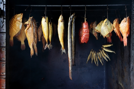 Marine fish from smokehouse is a great source of omega 3 and healthy life photo