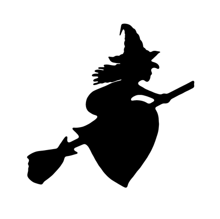 broomstick: Halloween sign and icon Stock Photo