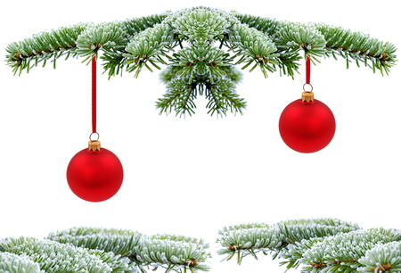 Christmas evergreen spruce tree with glass ball on snow background Stock Photo - 22612232