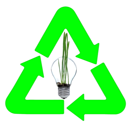 Recycling and renewable energy sources, glass bulb motif Stock Photo - 23119195