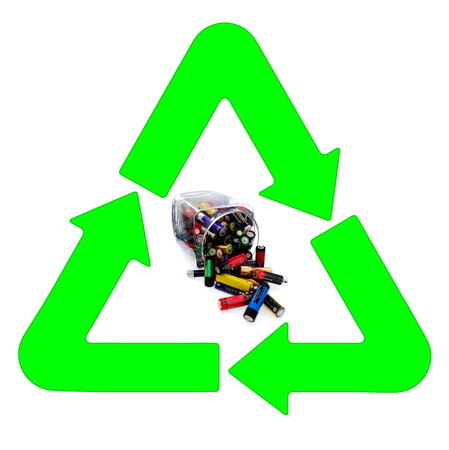 Recycling and renewable energy sources, aa different batteries background  photo
