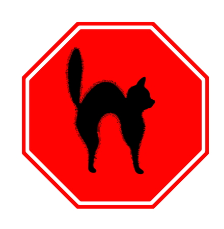 awfully: Red stop sign with unlucky black cat, halloween and misfortune motif
