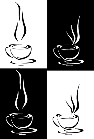 Coffee, tea or hot infusion of herbs, symbol and icon photo