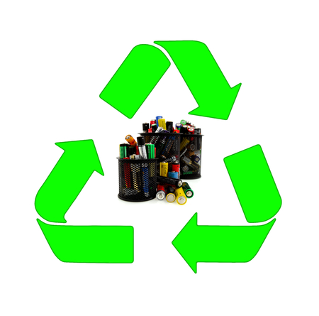 waste basket: Recycling and renewable energy sources, aa different batteries background