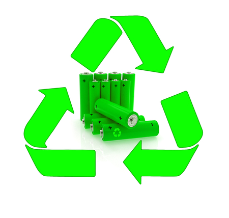 Green power farm, accu, recycling and renewable energy sources Stock Photo