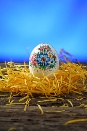 crack willow: Easter egg on old farmhouse  rustic wooden table on blue window background Stock Photo
