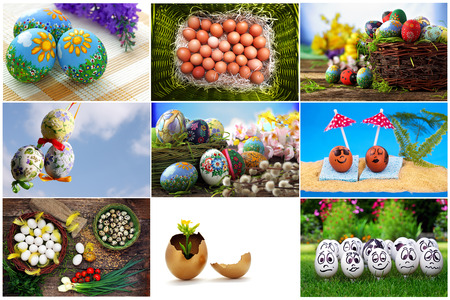 tradition: Easter eggs collection, spring and tradition