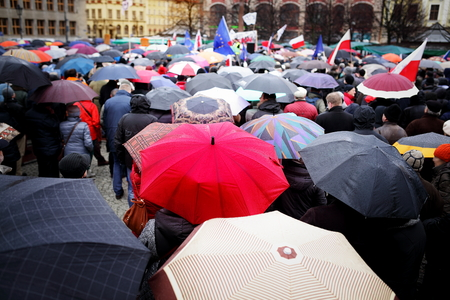 Wroclaw, Poland, March, twelfth, social protest versus devastation of the Constitution, rainy day Polish democracy