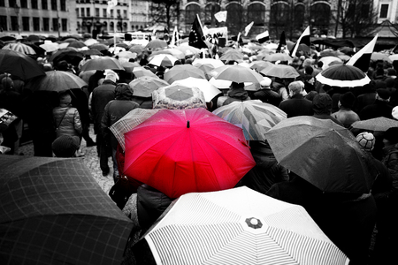 many people: Wroclaw, Poland, March, twelfth, social protest versus devastation of the Constitution, rainy day Polish democracy
