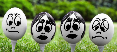 Easter egg and funny face, emotions