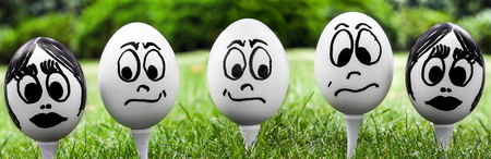 embarrassment: Easter egg and funny face, emotions