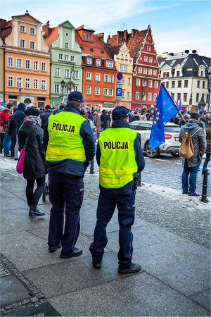 ninth: Wroclaw, Poland, January, ninth , social protest versus devastation  and destruction of democracy and constitution, sad day for society