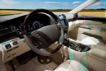 Interior of the brand new luxury car Stock Photo