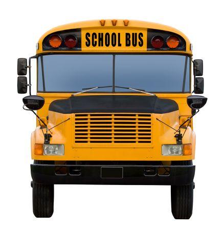 transport scolaire: Jaune autobus scolaire isol� sur blanc - fa�ade Banque d'images