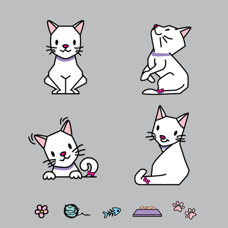 Cartoon Vector cat poses and accessories illustrated Illustration