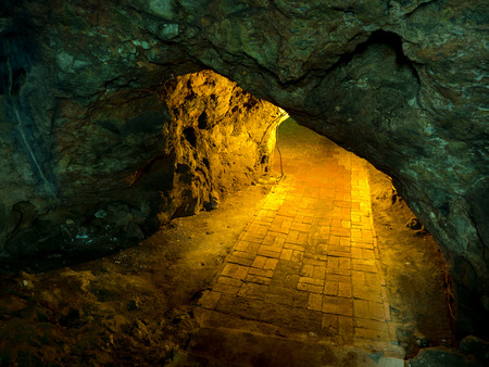 Light waves that penetrate limestone caves, at Khao Luang caves in Thailand.