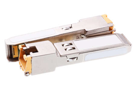 gigabit: Two SFP network module isolated on a white background Stock Photo