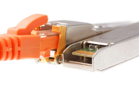 rj 45: Two SFP network module with orange RJ45 iack isolated on a white background