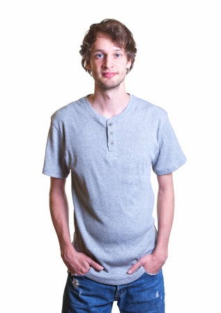 Young man in grey shirt