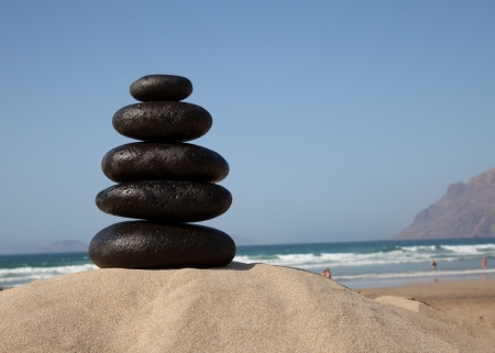 Stone stacks with sea waves photo