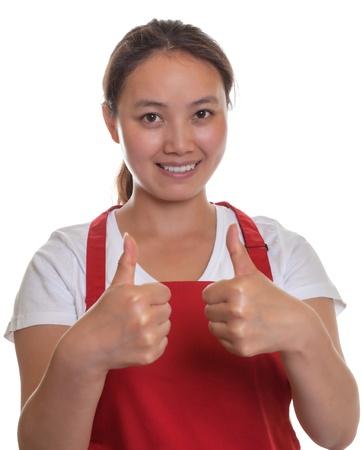 mandil: Camarera amistosa chino que muestra ambos pulgares para arriba