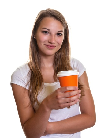 Smiling girl with a cup of coffee   Stock Photo - 22097731