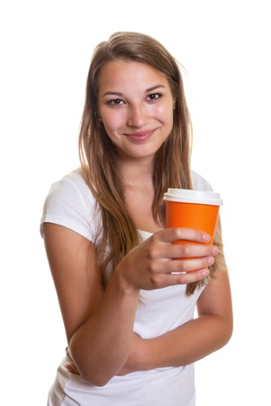 Young girl presenting a cup of coffee Stock Photo - 22097737