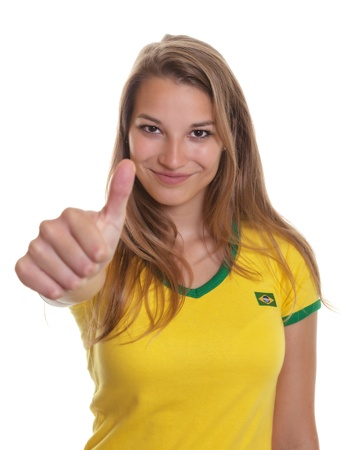 kick off: Beautiful woman from Brazil is ready for the football kick off