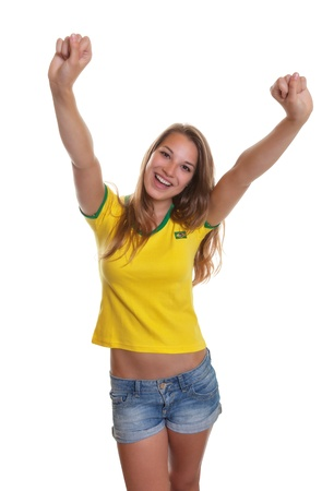 supporter: Cheering brazilian soccer supporter Stock Photo