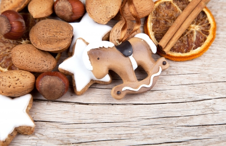 Christmas decoration with rocking horse on the edge of wood photo