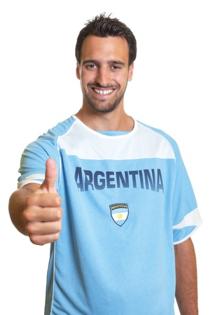 Argentinian soccer fan showing thumb up   photo
