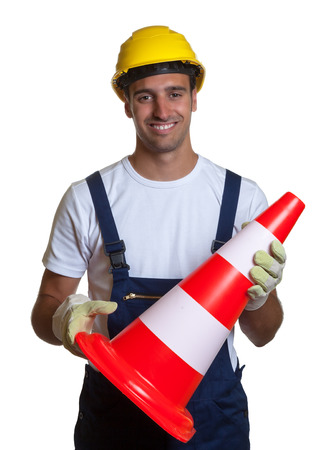 ensures: Construction worker ensures safety on a white background