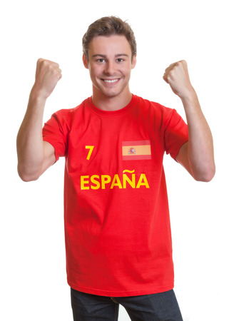 Cheering spanish soccer fan photo