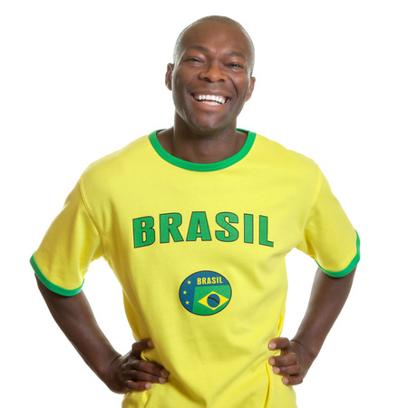 kick off: Brazilian soccer fan is ready for kick off Stock Photo