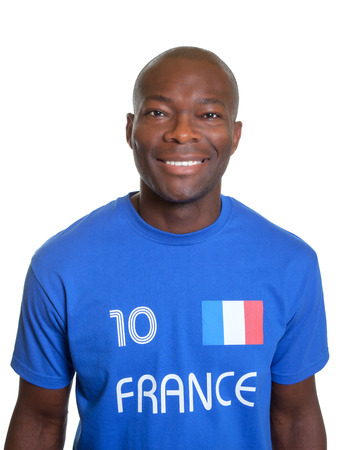 French football fan in blue jersey  photo