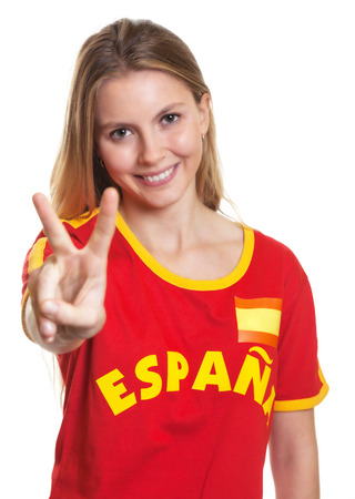 Spanish sports fan showing victory sign photo