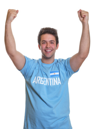 Cheering argentinian sports fan photo