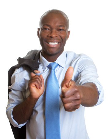 African businessman with jacket showing thumb