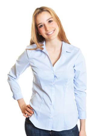 cabello rubio: Secretaria de sexo femenino con el pelo rubio que mira la c�mara
