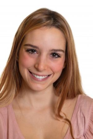 cabello rubio: Retrato de un estudiante de risa con el pelo largo y rubio