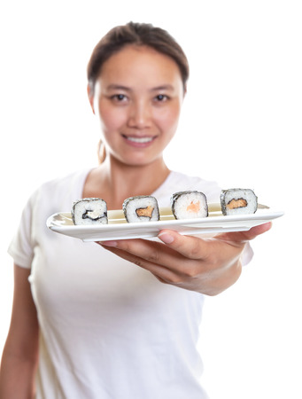 Japanese Waitress offering sushi  photo