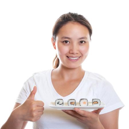 Japanese Waitress recommending sushi photo
