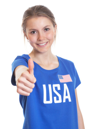 American woman showing right thumb up