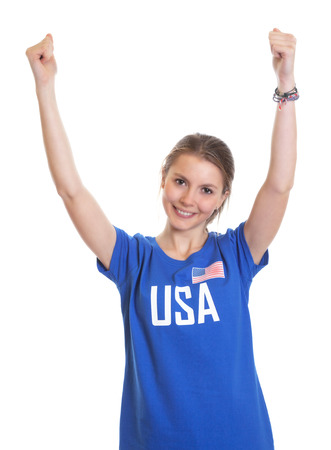 Cheering american woman photo