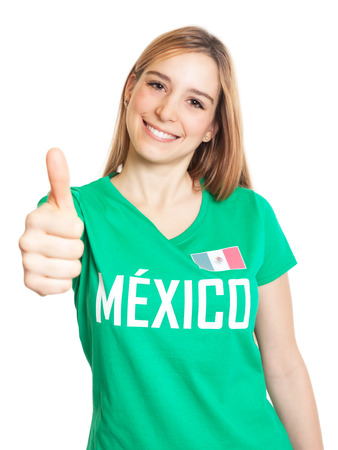 freak out: Mexican woman showing thumb up