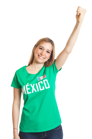 cup: Cheering mexican woman  Stock Photo