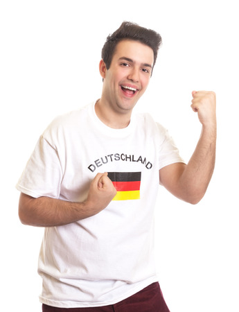 Cheering german sports fan with black hair  photo