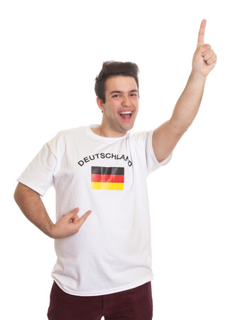 Happy german sports fan with black hair  photo